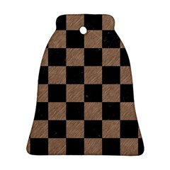 Square1 Black Marble & Brown Colored Pencil Bell Ornament (two Sides) by trendistuff