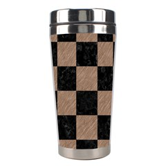 Square1 Black Marble & Brown Colored Pencil Stainless Steel Travel Tumbler by trendistuff
