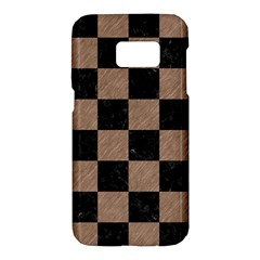 Square1 Black Marble & Brown Colored Pencil Samsung Galaxy S7 Hardshell Case  by trendistuff