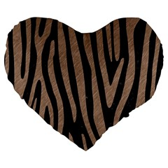 Skin4 Black Marble & Brown Colored Pencil (r) Large 19  Premium Flano Heart Shape Cushion by trendistuff