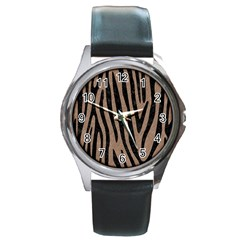 Skin4 Black Marble & Brown Colored Pencil Round Metal Watch by trendistuff