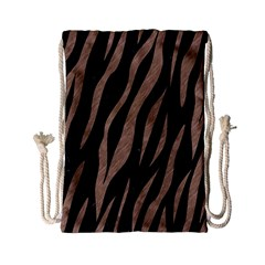 Skin3 Black Marble & Brown Colored Pencil Drawstring Bag (small) by trendistuff