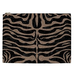 Skin2 Black Marble & Brown Colored Pencil Cosmetic Bag (xxl) by trendistuff