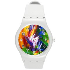 Palms02 Round Plastic Sport Watch (m) by psweetsdesign