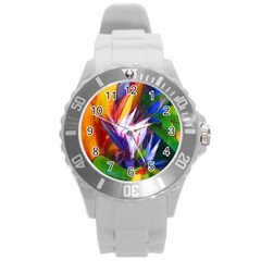 Palms02 Round Plastic Sport Watch (l) by psweetsdesign