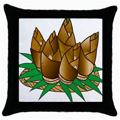 Young Bamboo Throw Pillow Case (black) by Mariart