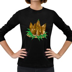 Young Bamboo Women s Long Sleeve Dark T-shirts by Mariart
