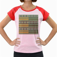 Bezold Effect Traditional Medium Dimensional Symmetrical Different Similar Shapes Triangle Green Yel Women s Cap Sleeve T Shirt by Mariart