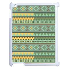 Bezold Effect Traditional Medium Dimensional Symmetrical Different Similar Shapes Triangle Green Yel Apple Ipad 2 Case (white) by Mariart