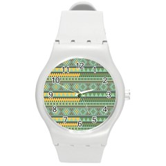 Bezold Effect Traditional Medium Dimensional Symmetrical Different Similar Shapes Triangle Green Yel Round Plastic Sport Watch (m) by Mariart