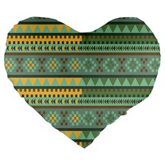 Bezold Effect Traditional Medium Dimensional Symmetrical Different Similar Shapes Triangle Green Yel Large 19  Premium Heart Shape Cushions