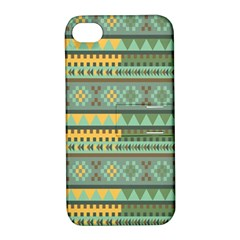 Bezold Effect Traditional Medium Dimensional Symmetrical Different Similar Shapes Triangle Green Yel Apple Iphone 4/4s Hardshell Case With Stand