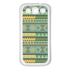 Bezold Effect Traditional Medium Dimensional Symmetrical Different Similar Shapes Triangle Green Yel Samsung Galaxy S3 Back Case (white) by Mariart