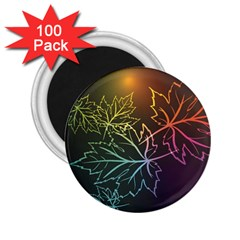 Beautiful Maple Leaf Neon Lights Leaves Marijuana 2 25  Magnets (100 Pack)  by Mariart