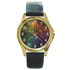 Beautiful Maple Leaf Neon Lights Leaves Marijuana Round Gold Metal Watch by Mariart