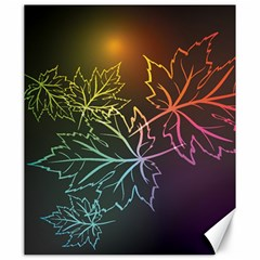 Beautiful Maple Leaf Neon Lights Leaves Marijuana Canvas 20  X 24   by Mariart