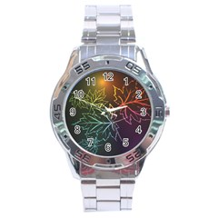 Beautiful Maple Leaf Neon Lights Leaves Marijuana Stainless Steel Analogue Watch by Mariart