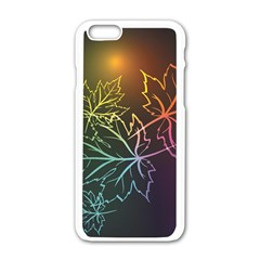 Beautiful Maple Leaf Neon Lights Leaves Marijuana Apple Iphone 6/6s White Enamel Case by Mariart
