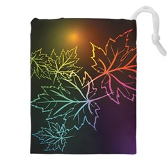 Beautiful Maple Leaf Neon Lights Leaves Marijuana Drawstring Pouches (xxl) by Mariart