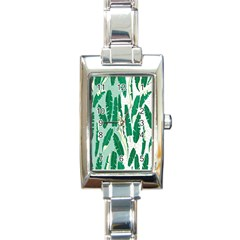 Banana Leaf Green Polka Dots Rectangle Italian Charm Watch by Mariart