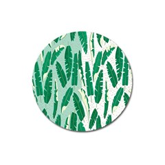 Banana Leaf Green Polka Dots Magnet 3  (round) by Mariart