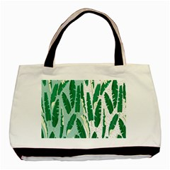 Banana Leaf Green Polka Dots Basic Tote Bag (two Sides) by Mariart