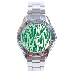 Banana Leaf Green Polka Dots Stainless Steel Analogue Watch by Mariart