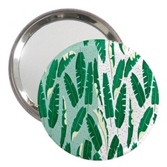 Banana Leaf Green Polka Dots 3  Handbag Mirrors by Mariart