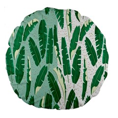 Banana Leaf Green Polka Dots Large 18  Premium Round Cushions by Mariart