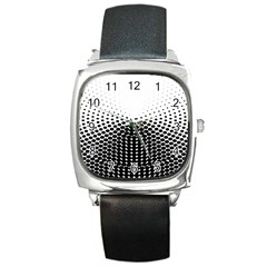 Black White Polkadots Line Polka Dots Square Metal Watch by Mariart