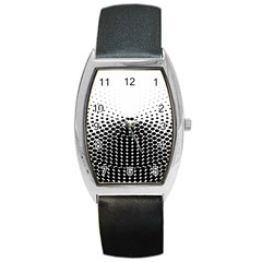 Black White Polkadots Line Polka Dots Barrel Style Metal Watch by Mariart