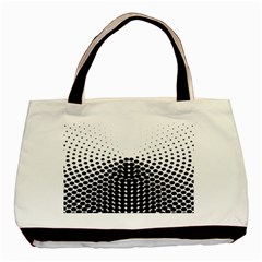 Black White Polkadots Line Polka Dots Basic Tote Bag (two Sides) by Mariart