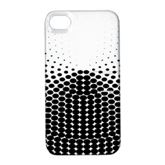 Black White Polkadots Line Polka Dots Apple Iphone 4/4s Hardshell Case With Stand