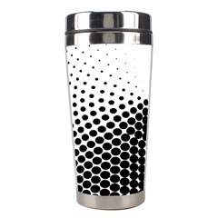 Black White Polkadots Line Polka Dots Stainless Steel Travel Tumblers by Mariart