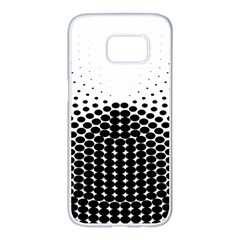 Black White Polkadots Line Polka Dots Samsung Galaxy S7 Edge White Seamless Case by Mariart