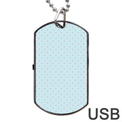 Blue Red Circle Polka Dog Tag Usb Flash (two Sides) by Mariart