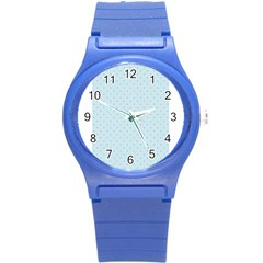 Blue Red Circle Polka Round Plastic Sport Watch (s) by Mariart