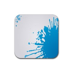 Blue Stain Spot Paint Rubber Coaster (square)  by Mariart