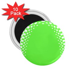 Bubble Polka Circle Green 2 25  Magnets (10 Pack)  by Mariart