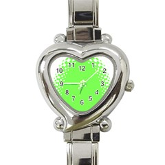 Bubble Polka Circle Green Heart Italian Charm Watch by Mariart