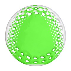 Bubble Polka Circle Green Ornament (round Filigree) by Mariart