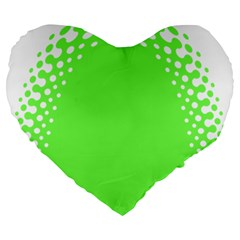 Bubble Polka Circle Green Large 19  Premium Heart Shape Cushions by Mariart