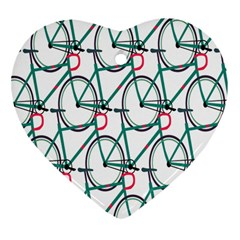 Bicycle Cycling Bike Green Sport Heart Ornament (two Sides)
