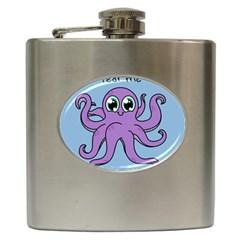 Colorful Cartoon Octopuses Pattern Fear Animals Sea Purple Hip Flask (6 Oz) by Mariart