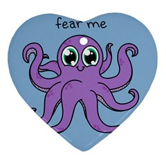 Colorful Cartoon Octopuses Pattern Fear Animals Sea Purple Heart Ornament (two Sides) by Mariart