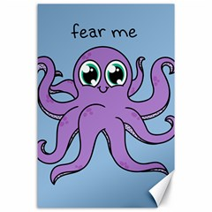 Colorful Cartoon Octopuses Pattern Fear Animals Sea Purple Canvas 24  X 36