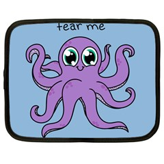 Colorful Cartoon Octopuses Pattern Fear Animals Sea Purple Netbook Case (large) by Mariart
