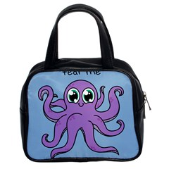 Colorful Cartoon Octopuses Pattern Fear Animals Sea Purple Classic Handbags (2 Sides) by Mariart