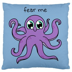 Colorful Cartoon Octopuses Pattern Fear Animals Sea Purple Large Cushion Case (one Side) by Mariart