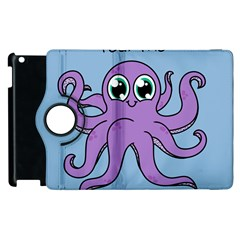Colorful Cartoon Octopuses Pattern Fear Animals Sea Purple Apple Ipad 3/4 Flip 360 Case by Mariart